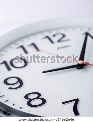 Close up of white clock face,macro.