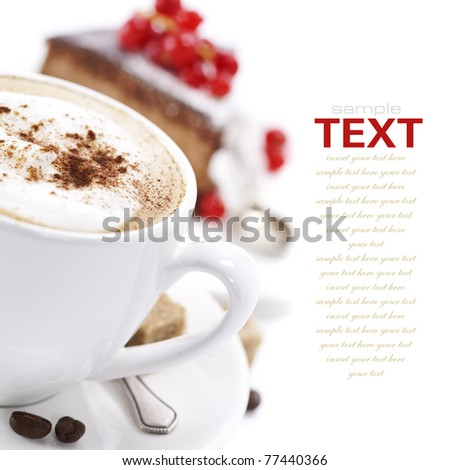 Close-up of white cup of coffee and chocolate cake (easy removable text) - stock photo