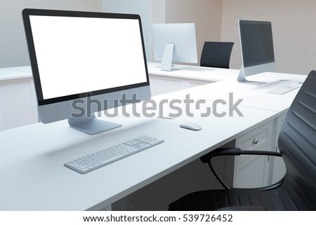 Close up of white desktop with empty pc monitor, keyboard and other items. Mock up, 3D Rendering