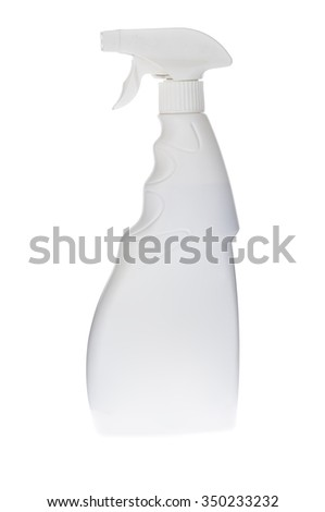 close up of white plastic dispenser with cleaning liquid isolated on white background - stock photo