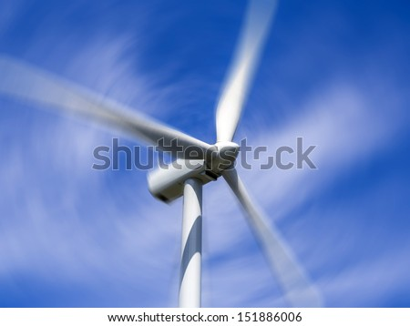 Close up of wind turbine blades - stock photo