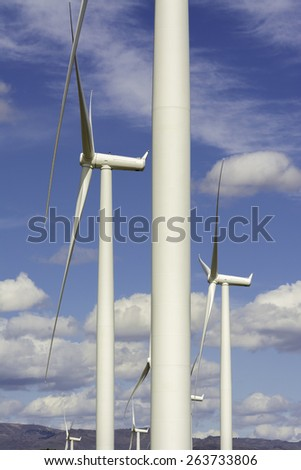 Close up of wind turbines abstract - stock photo