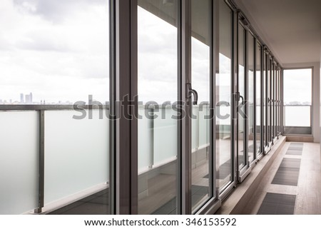 Close-up of window wall in business building - stock photo
