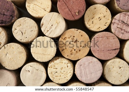 Close up of wine corks with focus across ends