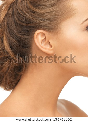 close up of woman beautiful naked ear - stock photo