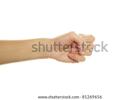 Close up of woman hand gesture shows his hand. Isolated on white background - stock photo