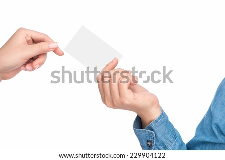 close up of woman hand holding credit card. Female hand showing blank credit card  - stock photo