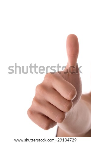 Close up of woman hand show thumbs up.