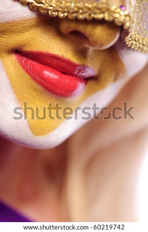 close up of woman lips, may be use for Venice concept - stock photo