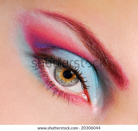Close-up of woman's eye with eyeliner and eyeshadow