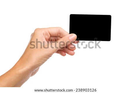 Close up of woman's hand holding blank black card. Studio shot isolated on white. - stock photo