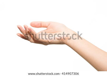 Close-up of woman's hand isolated on white background. Palm up