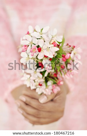 Close-up of woman's hands holding fresh spring flowers. Very shallow DOF. Selective focus on the flowers. - stock photo