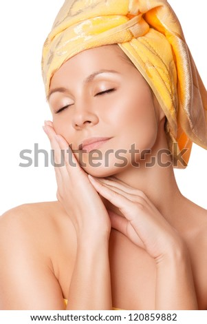 Close-up of woman with perfect health skin - stock photo