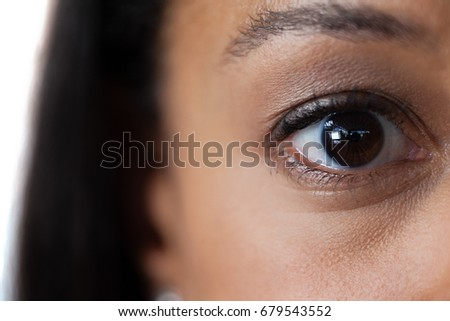 Close-up of womans eye with eyebrows