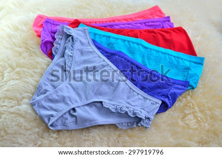 Close up of womans panties isolated on white background, selective focus.