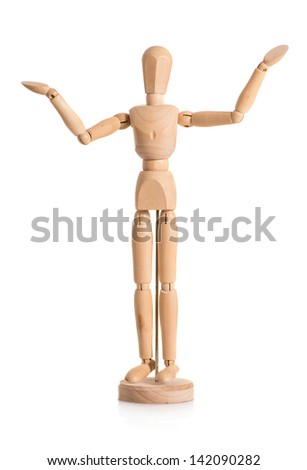 Close-up Of Wooden Dummy Isolated Over White Background - stock photo