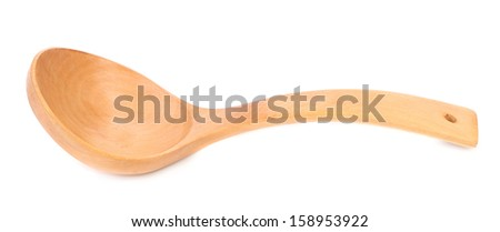 Close up of wooden spoon. Isolated on a white background.
