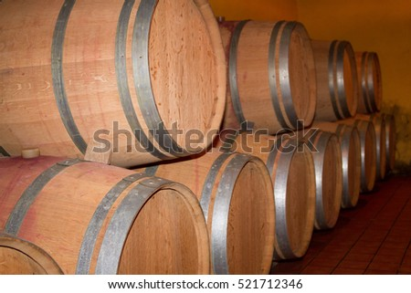 Close up of wooden wine barrel in wine cellar