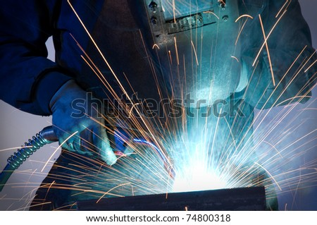 Close up of worker welding steel - a series of METAL INDUSTRY images.
