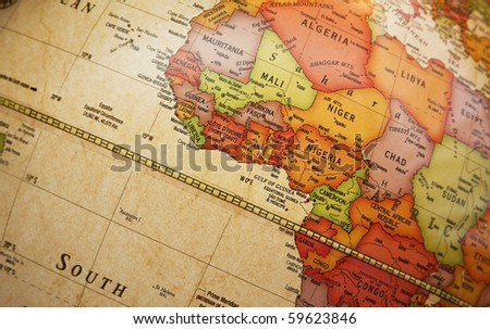 Close world map detail african continent stock photo edit now close up of world map with detail of african continent focus centered on golf of gumiabroncs Choice Image