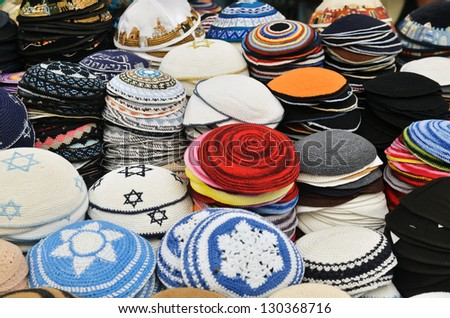close up of Yarmulkes - traditional Jewish headwear