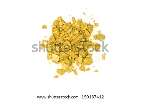 Close up of yellow make up powder and crushed eyeshadow - stock photo