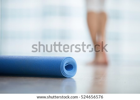 Close Up Of Yoga Fitness Foam Exercise Mat Fix In A Roll Living