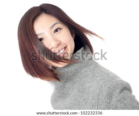 Close up of young beauty happy face with smile isolated on white background, model is a asian beauty - stock photo