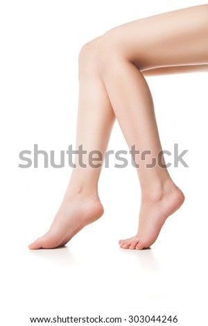 Close up of young woman's legs
