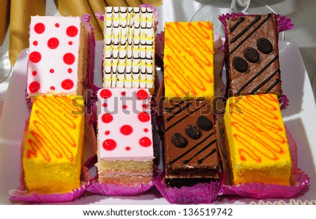 Close up of yummy cakes - stock photo