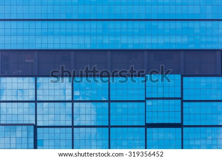 Close up office window reflection sky, background - stock photo