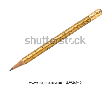 Close up old and dirty wooden pencil isolated on white - with path - stock photo