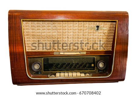 Close up old classic radio isolated on white background.Saved with clipping path.