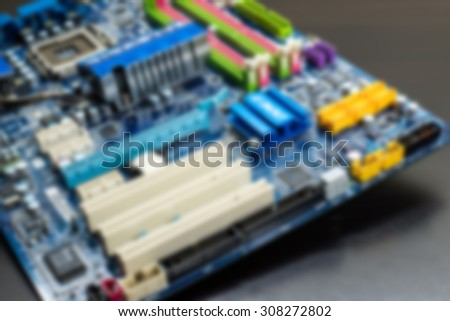 Close up old CPU Processor socket with mainboard blurry background