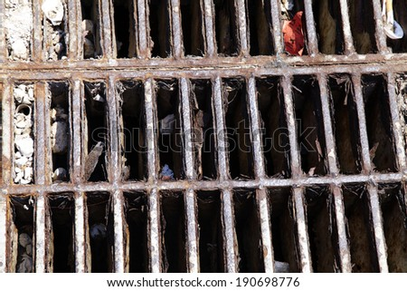 close up old drain cover in thailand - stock photo