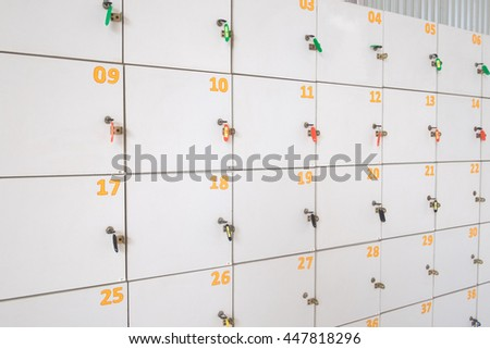 Close up  old lockers in Thailand.(Selective focus) - stock photo