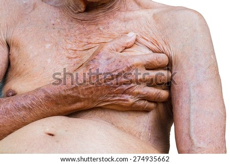 close-up old man touching his chest, heart attack. Health concept, isolated on white background - stock photo
