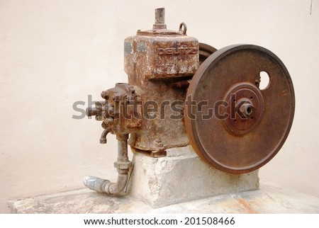Close up old rust water pump