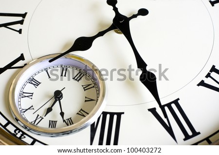 Close up old vintage wall clock with two different time zones.Concept photo of changing time, nostalgia past present and future. - stock photo