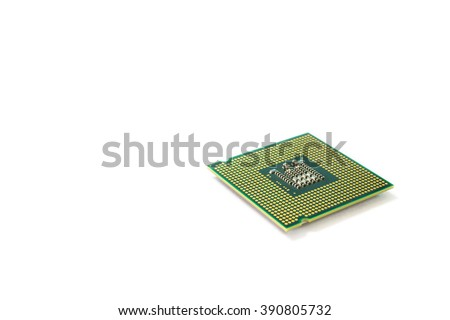 Close-up on a CPU microchip on white isolated background is heart important computer or electronic circuits - stock photo