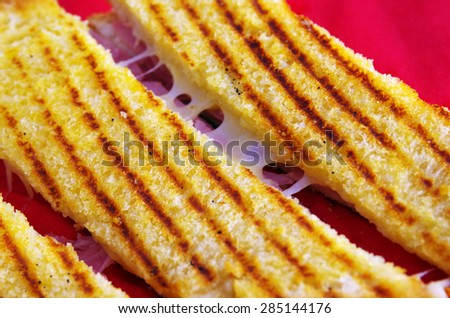 Close-up on a delicious looking toast with ham and melting cheese - stock photo