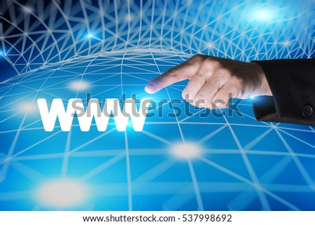 close up on a hand pointing at a www logo, placed on an artificial background made of a wireframe grid representing a part of the world wide web