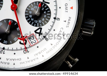 Close-up on a lower part of a wrist watch. - stock photo