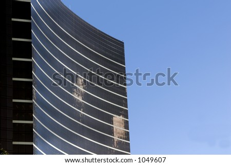 Close up on a skyscraper with clear skies in Las Vegas
