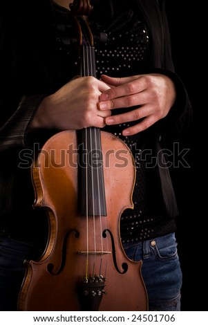 Close up on a violin in hands. Music instrument concept