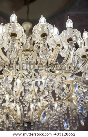 close up on ancient crystal chandelier