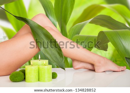 Close Up On Beautiful Woman Legs In Spa