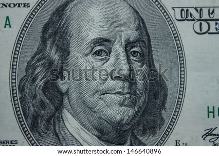 Close-up on Benjamin Franklin - stock photo