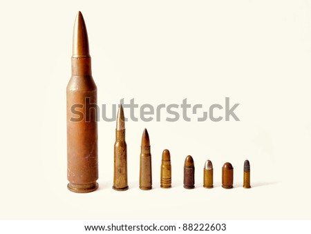Close up on bullets shown on a white background - stock photo